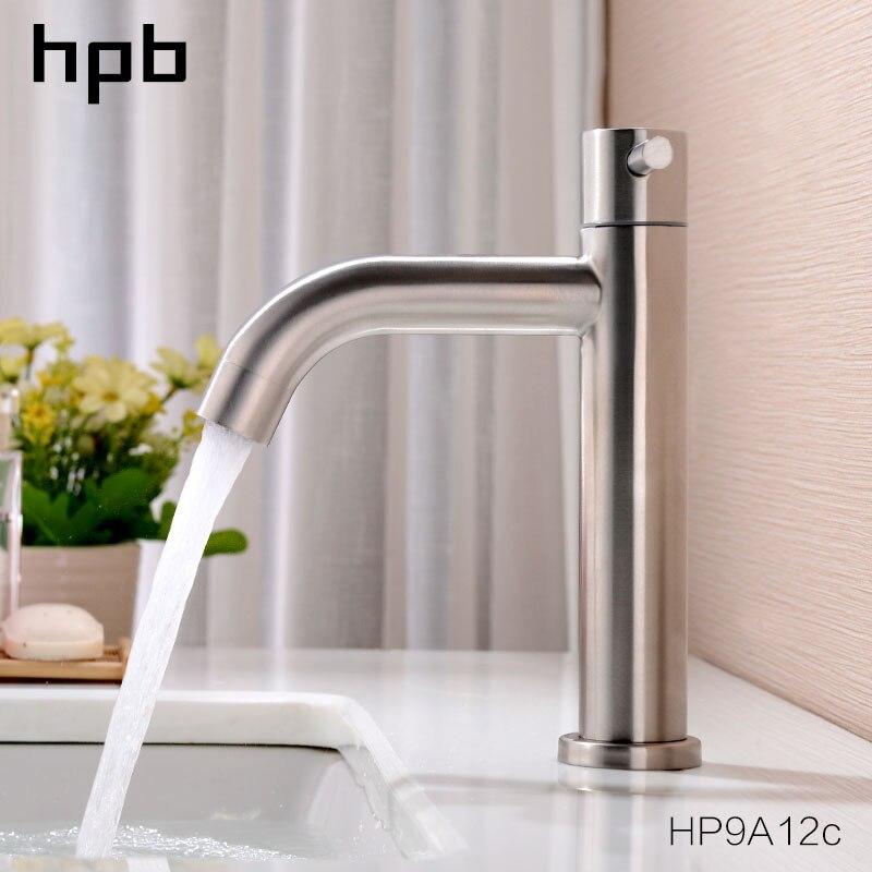 HPB Nickel Brushed Basin Faucet Tap Bathroom Single Cold Basin Faucet Mixer Tap Single Handle Water Mixer Sink Taps HP9A12HPB Nickel Brushed Basin Faucet Tap Bathroom Single Cold Basin Faucet Mixer Tap Single Handle Water Mixer Sink Taps HP9A12
