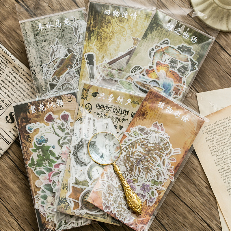 60 Pcs/pack Retro Impression Butterfly Plants Decorative Stationery Stickers Scrapbooking Diy Diary Album Stick Label
