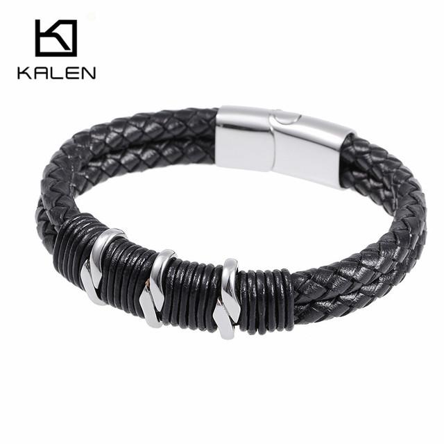 Kalen hombres joyería color de plata de la manera 316 de acero inoxidable de alta calidad masculino barato de cuero trenzado pulsera de los accesorios masculinos