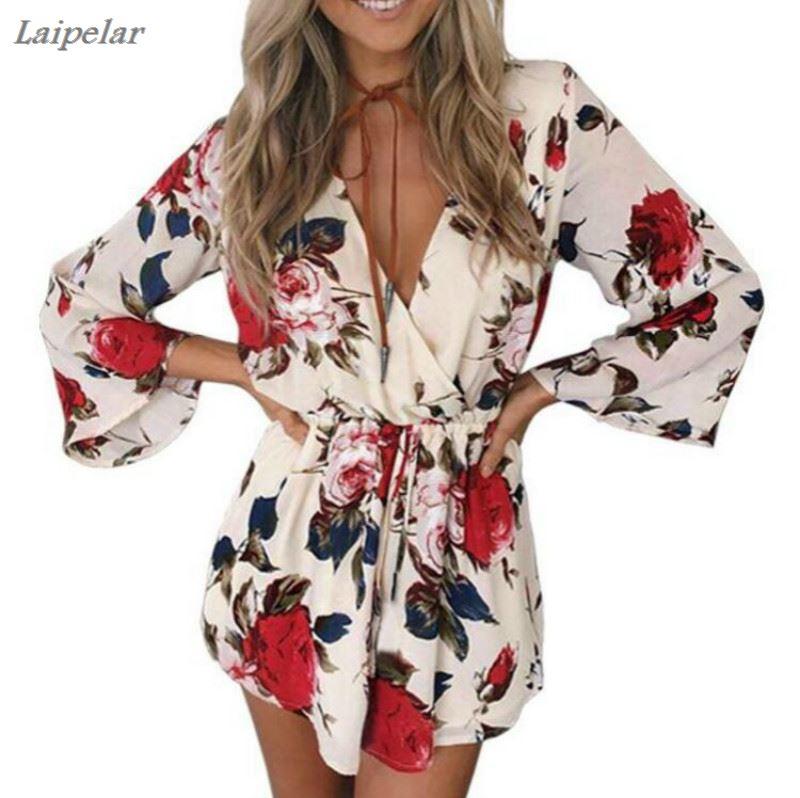Laipelar Boho flower elegant jumpsuit jumpsuit women summer sexy v neck one piece playsuit Beach waist white chiffon jumpsuits in Jumpsuits from Women 39 s Clothing