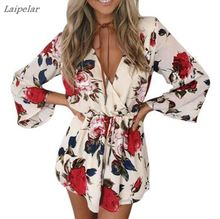 Laipelar Boho flower elegant jumpsuit women summer sexy v neck one piece playsuit Beach waist white chiffon jumpsuits