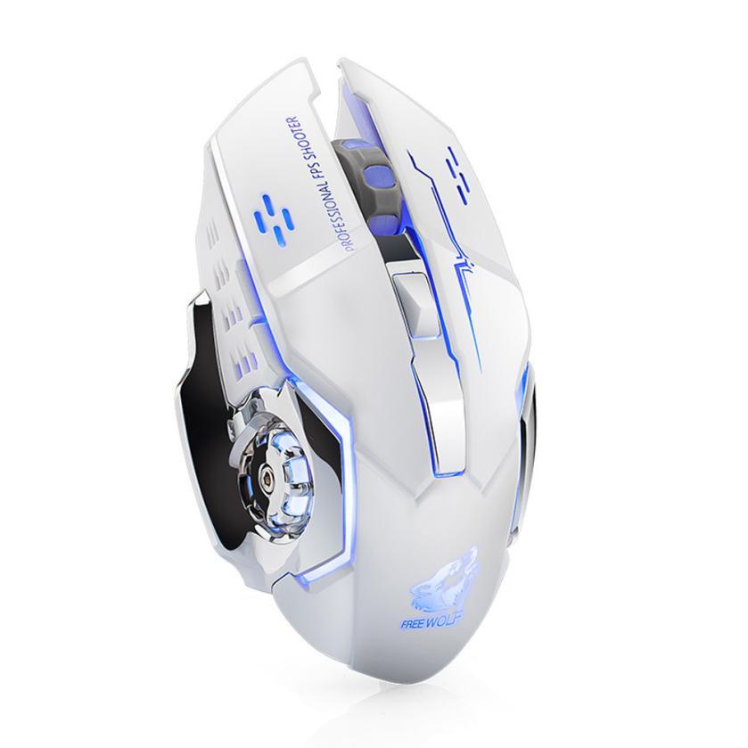 LOL recargable X8 inalámbrico silencioso con retroiluminación LED USB óptico ergonómico ratón de juego de ratón Usb Maus # T10