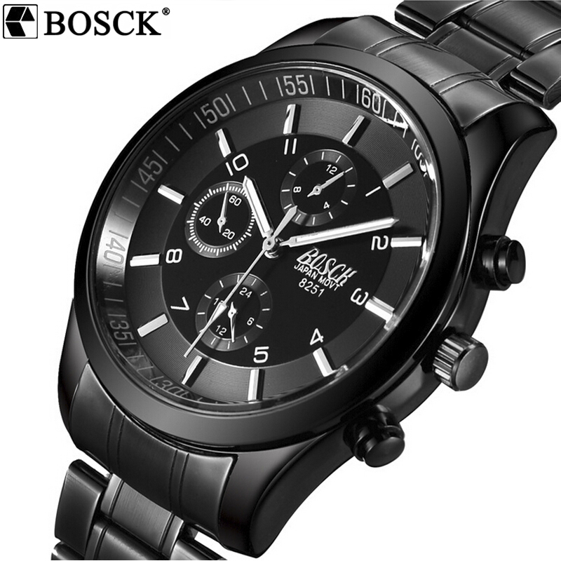 BOSCK Hot Mens Watches Militär Army Top Märke Lyx Sport Casual Vattentät Mens Watch Quartz Rostfritt Stål Man Armbandsur