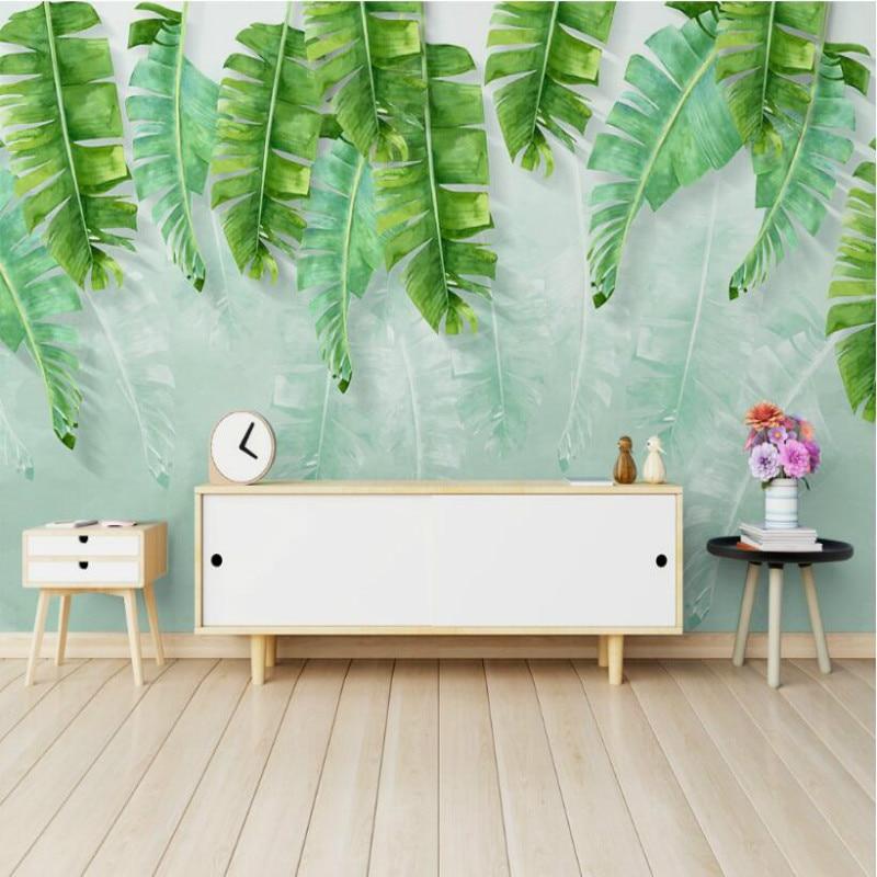 Sederhana Hijau Daun Pisang Cat Air 3D Wallpaper untuk Ruang Tamu Alat Rumah Tangga Modern Wallpaper