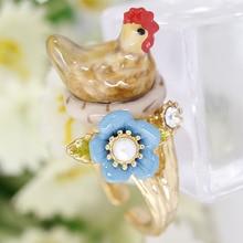 Новое Стильное Оригинальное яркое кольцо с курицей, элегантное благородное Ювелирное кольцо в виде животного, эмалевое кольцо