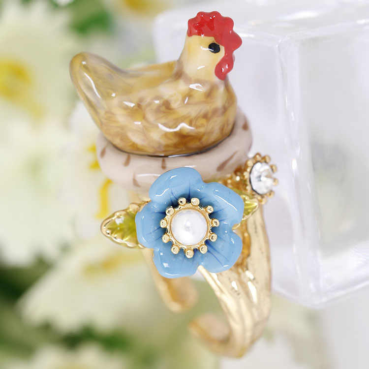 New Style Original Vivid Chicken Announce Morning Ring Elegant Noble Animal Jewelry Enamel Ring