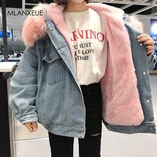 С меховой отделкой капюшона хлопковая подкладка длинные джинсовые куртки для женщин зимние Харди теплые джинсовые пальто куртки для женщин размера плюс свободная верхняя одежда