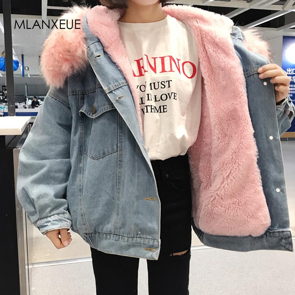 With Fur Trim Hood Cotton Liner Long Denim Jackets Women Winter Hardy Warm Denim Coats Jackets Female Plus Size Loose Outerwear(China)