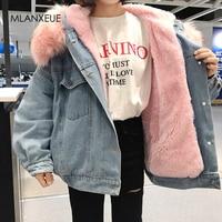With Fur Trim Hood Cotton Liner Long Denim Jackets Women Winter Hardy Warm Denim Coats Jackets Female Plus Size Loose Outerwear