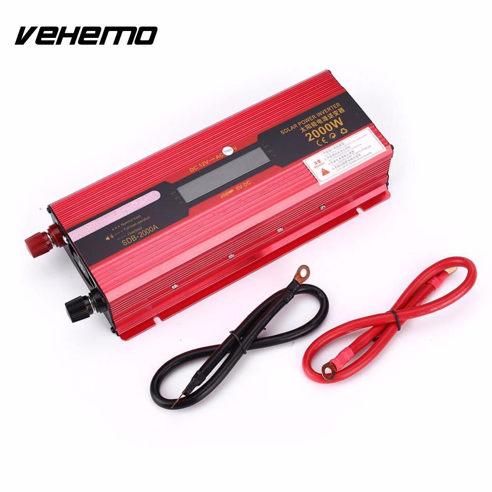 Vehemo 2000W Cars Vehicle Auto Aluminium Alloy Sine Wave Solar Power Inverter Charger Converter Adapter With LCD Display New digital display vehicle 2000w usb car power solar inverter converter 12v dc to ac 220v usb charger adapter portable voltage