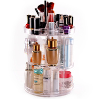 Acrylic Makeup Organizer 360 Degree Rotating Cosmetic Organizer Adjustable Cosmetic Storage Box, Fits for Cosmetics, Brushes