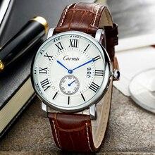 Мужчины Смотреть Carmis Повседневная Часы Мужские Лучший Бренд Класса Люкс Хронограф Водонепроницаемый Кожа Мужчины Наручные Часы Кварцевые Часы reloj hombre
