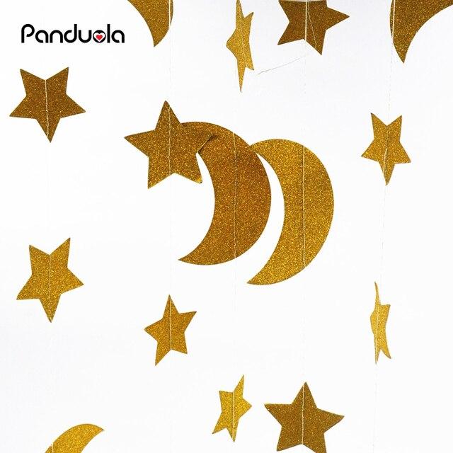 3.7M Stars Moon Paper Garland Birthday Wedding Hanging Decor Golden DIY Creative Handcrafted Party Decoration Supplier
