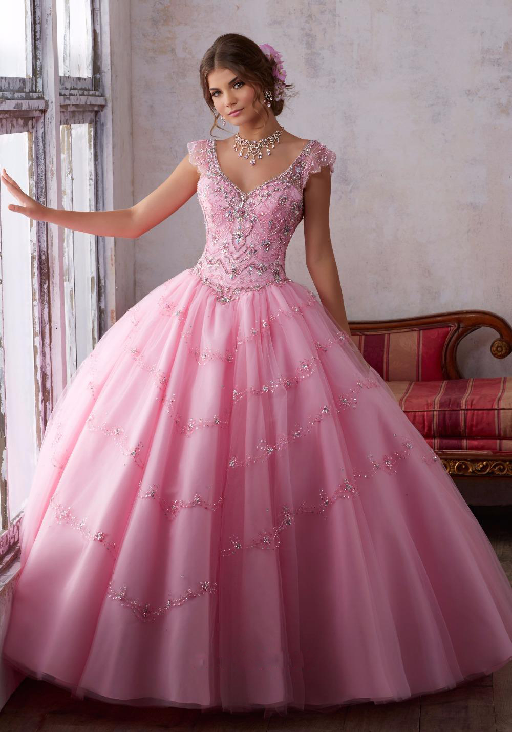 Sweetheart Aqua Ball Gown Lace Ball Gown Pink Purple Quinceanera Dress 2017 Beaded Organza Sweet 16 Dresses Vestidos De 15