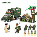 Military Combat Zone Transport Cart Chariot Model Building Blocks Army Soldiers Figures Bricks Toys For Boy's Xmas Gift