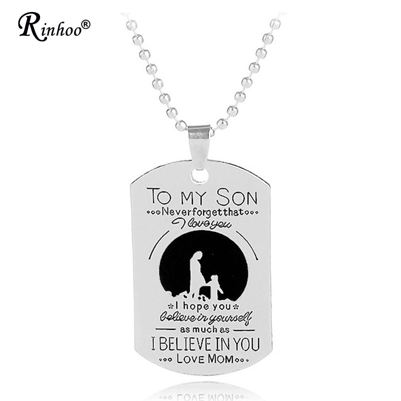 US $0 99 60% OFF|To My Son Mom Mother True Love Personalized Engraved  Letters ID Tag Necklace & Pendant Beaded Chain Boy Jewelry Birthday Gift-in