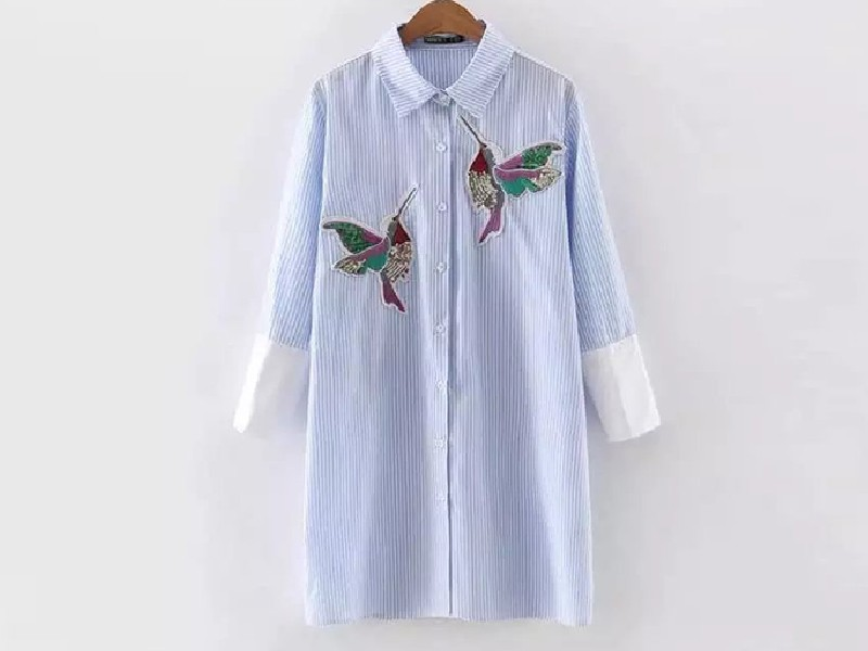 66485a52f6e90b Bird Embroidery Cotton Striped Blouse Women Patchwork Sleeve White ...