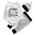 Newborn Baby Girl Boy Ropa de Algodón ocasional Hola Mundo Romper + Pantalones Leggings Ropa Sombrero 3 unids Trajes Giyim Bebek conjunto