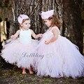 Dollbling Diseñador Lentejuelas tutú de La Arruga vestido de bautismo princesa sash arco boho gracia rústica nupcial vestido de niña