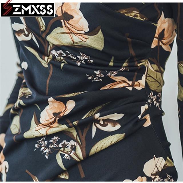SZMXSS 2018 Korean Version Autumn New Women's Clothing V-Neck Pleated Slim Printed Pencil Dress Long-Sleeved Mini Dresses