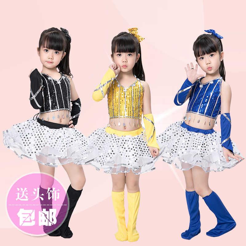 2175a47652fb modern jazz dance costume girl sexy sequin top salsa skirts hip hop dance  costumes kids cheerleader costume girl dance wear