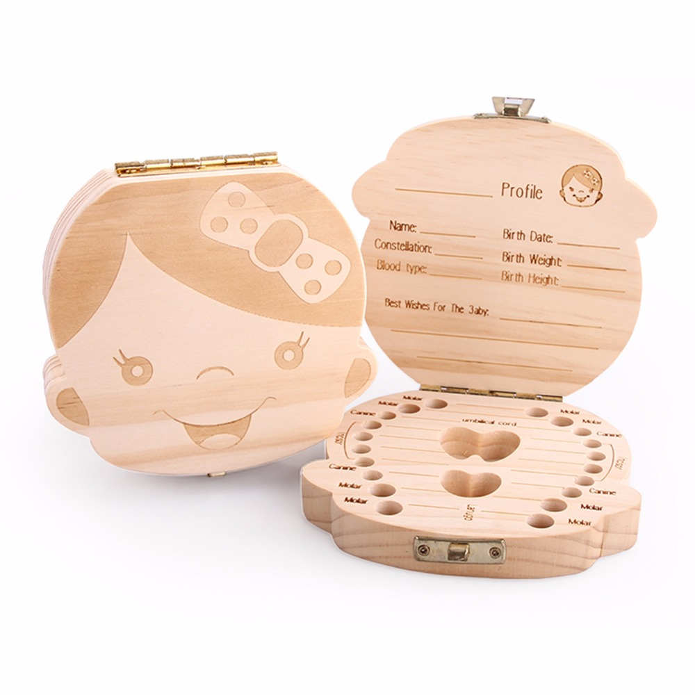 Nosii English Spanish Text Baby Boy Girl Fallen Tooth Box <font><b>Storage</b></font> Natural Wood Case Save Milk Teeth Collection Organizer Holder