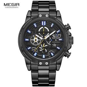 Image 2 - Megir 2019 Mannen Business Quartz Horloges Leger Sport Chronograph Horloge Man Top Merk Luxe Relogios Masculinos 2108 Zwart