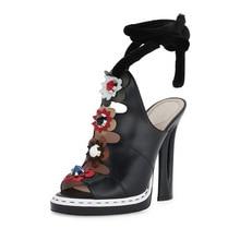 New Women Black Patent Leather Strange Chunky Heel Peep Toe Pumps Ankle Lace Up Flower Decoration Patchwork Wedding Shoes black patchwork plain toe lace up derbies