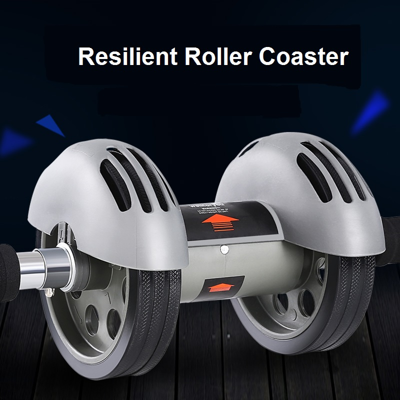 Resilent Double Wheels AB Roller Coaster with Kneelers Mat Metal Spring Belly Exercise Strength Training Rollers gym fitness