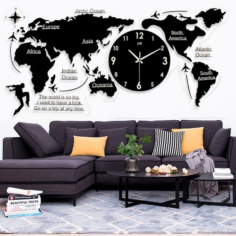 Nordic Brief Acrylic Creative World Map Clocks For Living Room Wall Clocks Home Decor Modern Design Digital Wall Watch