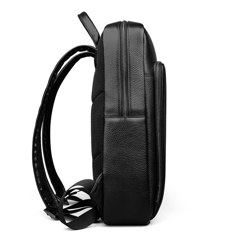 BUG Genuine Leather Backpack For Man Real Cowhide Large Male Backpack Double Zipper Travel Rucksack Classic Unisex Black Bag