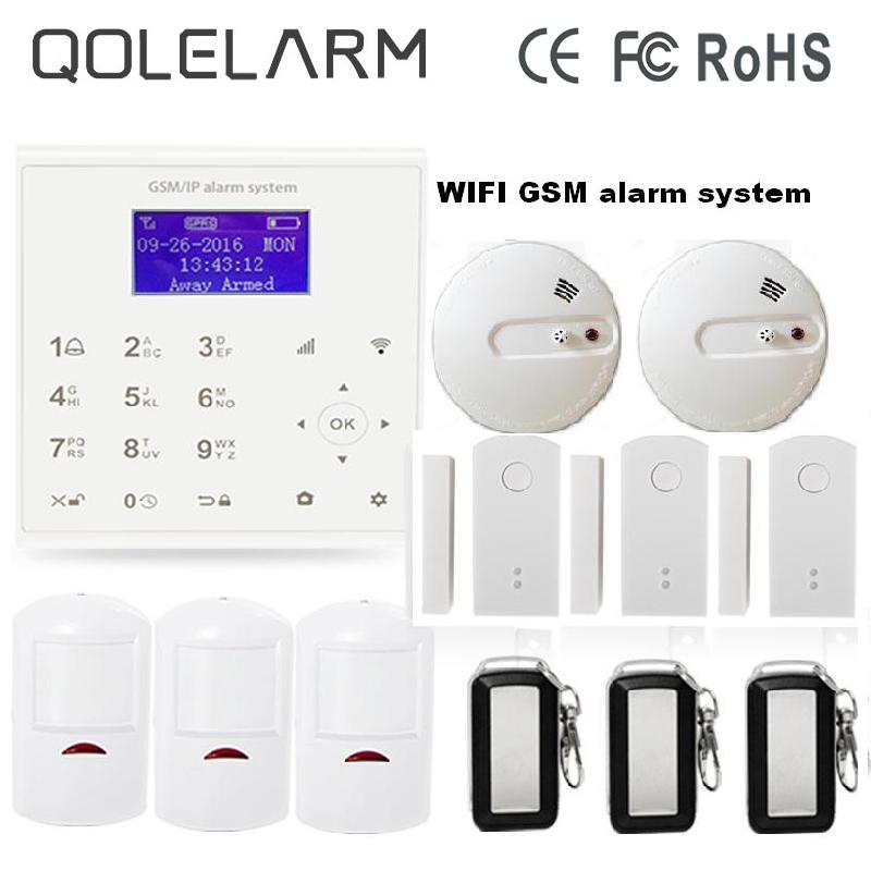 2017 2.4G WiFi GSM GPRS SMS Wireless Home Security Intruder Alarm System Smoke Detector door sensor with rechargeable Battery цена и фото