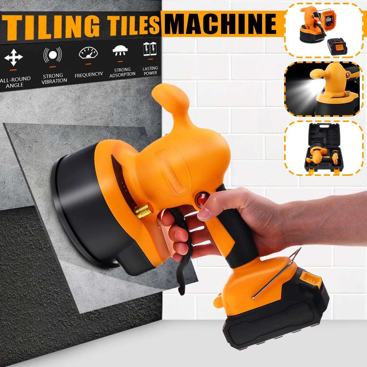 Doersupp Chargable Battery Tiling Tiles Vibrator Leveling Machine Suction Cup Adjustable LED Light Home Floor Wall Laying Tool Polishers     - title=