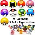 9 pcs 7 cm Figuras Pokeball + 9 pcs Pikechu ABS Quente Japonês Anime Pokeball Pokébola Brinquedos Coleções Cosplay presentes # E