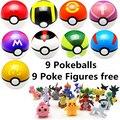 9 unids 7 cm Pokeball + 9 unids Pikechu ABS Figuras Anime Japonés Caliente Pokeball Poke Bola Juguetes Cosplay Colecciones regalos # E