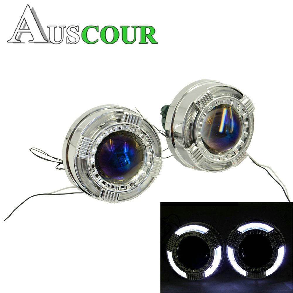 3.0 inch car styling hid bixenon projector lens hella 5 Blue film led day running DR angel eyes shrouds mask D1S D2S D3S Modify