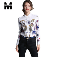 Merderheow New European Style 2017 Spring Women's Slim Fashionable Retro Printing Long Sleeve Shirt Stand Collar L78