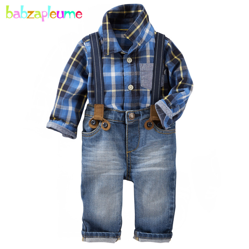 2PCS/2-7Years/Spring Autumn Baby Boys Suits Toddler Clothes Casual Fashion Blue Plaid Shirt+Jeans Children's Clothing Set BC1343