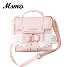 MSMO אנימה כרטיס שובה סאקורה Bowknot תיק חמוד בנות הסטודנטיאלי מלאך כנפי סגנון כתף תיק תיק