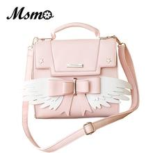 Msmo bolsa de ombro estilo asas de anjo, bolsa feminina de ombro com laço e alça longa para meninas
