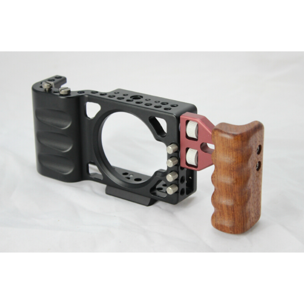 NEW BMPCC Cage Rig w/ Wooden handle handgrip handheld for BlackMagic Pocket DSLR Camera rig camera cage rig heavy duty aluminum alloy lightweight dslr camera cage rig for bmcc blackmagic cinema camera