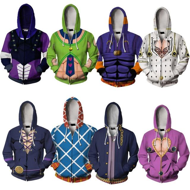 Japanese Anime Hoodies JoJo s Bizarre Adventure Print Hoodie Zip Up Hooded Spring Men Outerwear Boys Cosplay Uniform Clothes