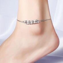 Ножные браслеты простые корейские модные двойные ноготь песок