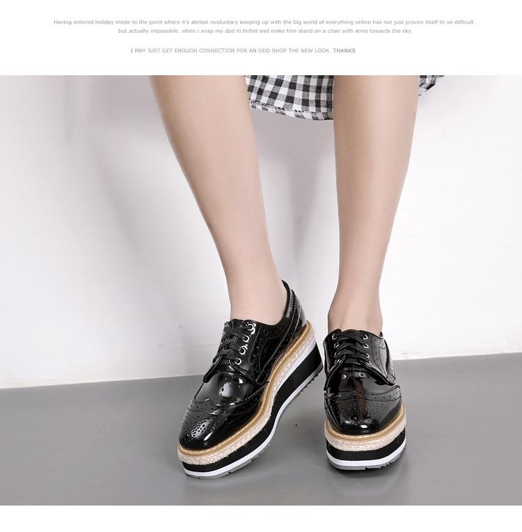 1ffbdc3d7f ... Women Platform Oxfords Brogue Flats Shoes Patent Leather Lace Up Square  Toe Brand Female Footwear Shoes ...