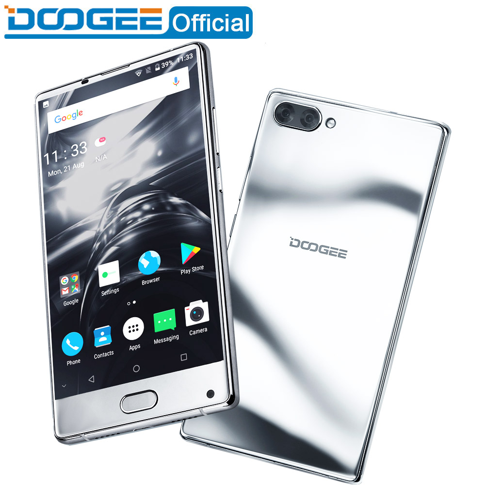 DOOGEE MIX bezel less mirror silver Smartphone Dual Camera 5 5 AMOLED MTK Helio P25 Octa