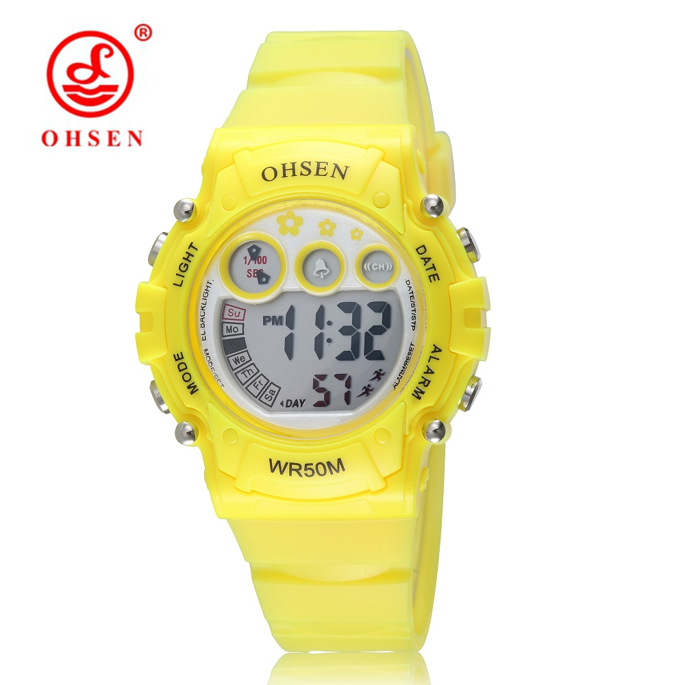 OHSEN Brand Fashion LED Boys Kid Wristwatches Alarm Chrono Rubber Band Digital Electronic Yellow Wat