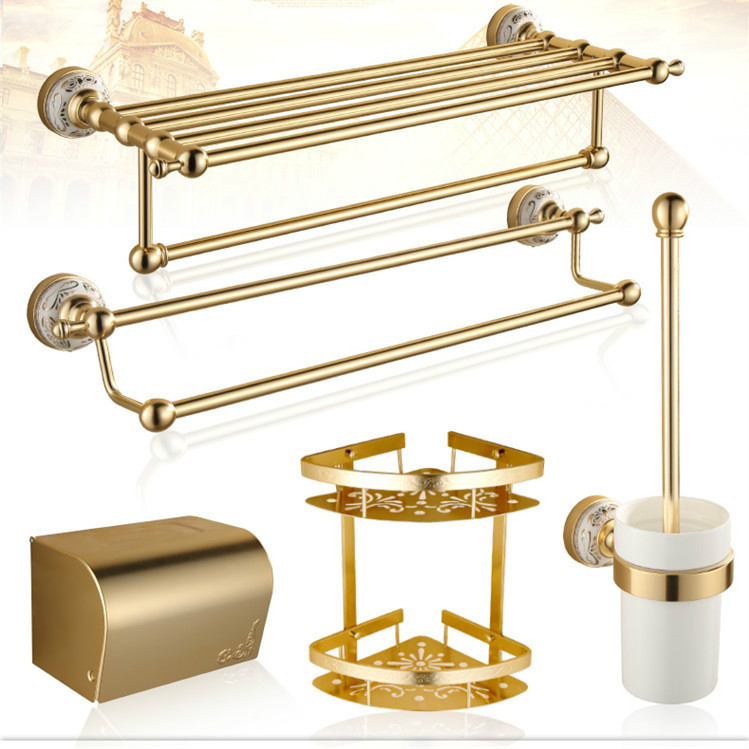 Luxury Titanium Gold Bathroom Hardware Sets Antique Space Aluminum Bathroom Accessories Carved