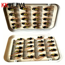 KKWEZVA 40pcs golden bee fly fishing lure set Artificial bait trout lures hooks tackle with box Butterfly Insect