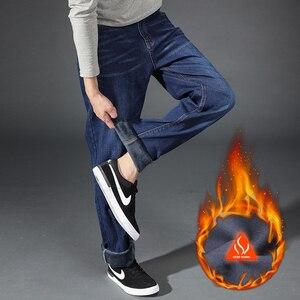 Image 5 - Big Plus Size mężczyźni ocieplane dżinsy 2020 zima nowe mody dorywczo wysokiej jakości polar elastyczne proste grube spodnie Jeans męskie marki