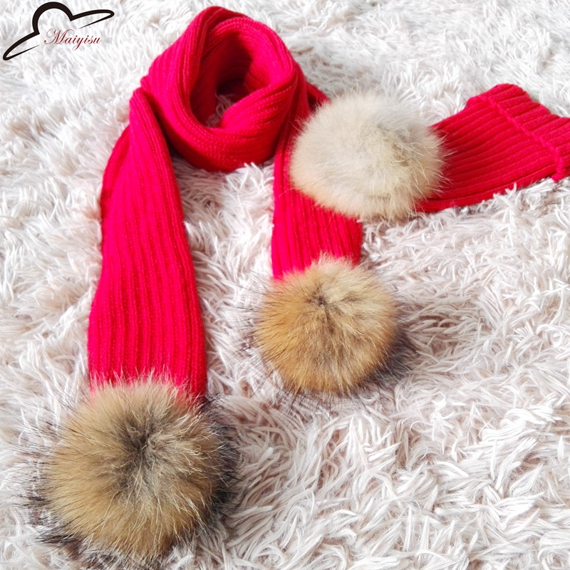 31a3419c8d45f 0-8 years old Scarves Knitted Cute Boys Christmas Children Girls Warm Real Raccoon  Fur Pom Pom Winter Scarf Scarves
